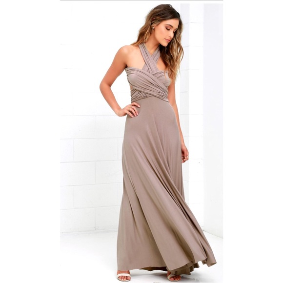 48864d617172 Lulu's Dresses | Tricks Of The Trade Taupe Maxi Dress Nwt | Poshmark